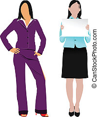 Two women silhouettes. Vector illu