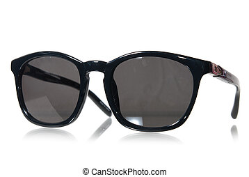 Black sunglasses isolated on white - oldstyle black...