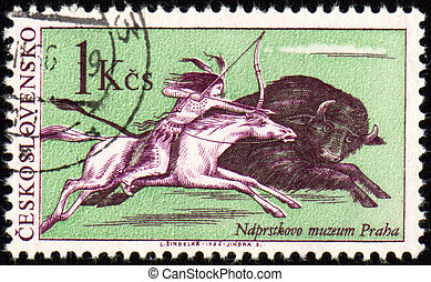 Injun buffalo hunting on post stamp - CZECHOSLOVAKIA - CIRCA...