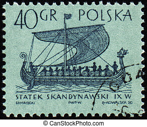 Scandinavian ship on post stamp - POLAND - CIRCA 1963: stamp...