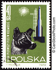 First dog Laika in space on post stamp - POLAND - CIRCA...