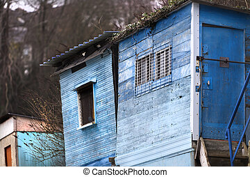 Fisherman's luxury - Detail of colored fisherman's huts, on...