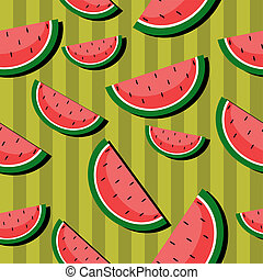 seamless background with watermelons on green vector...