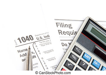 Tax form, filing requirement, calculator, and pen