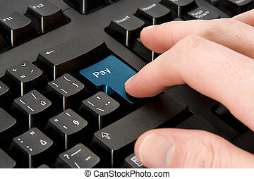 Electronic payment concept - Keyboard with button pay -...