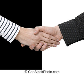 Shake hands of opposites - Contrast shake hands - concept of...
