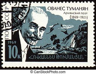 Armenian poet Ovanes Tumanyan on postage stamp