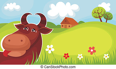 farm card - vector illustration of a farm card
