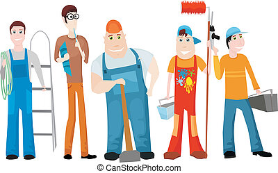 team - vector illustration of a worker team