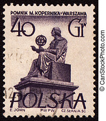 Polish astronomer Mikolas Kopernik on post stamp - POLAND -...