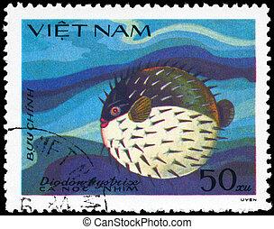 VIETNAM - CIRCA 1984 Porcupinefish - VIETNAM - CIRCA 1984: A...