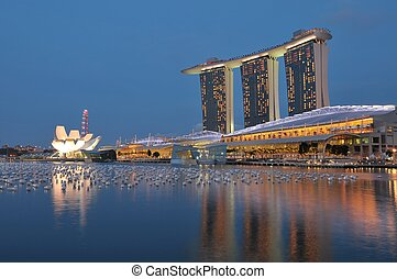 Marina Bay Sands - Singapore, 31 Dec 2011 - Night view of...