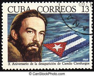 Camilo Cienfuegos on post stamp - CUBA - CIRCA 1969: post...