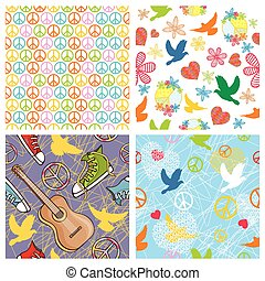 set of peace seamless background - vector set of different...