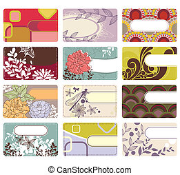 cute business card collection - abstract cute vector set of...