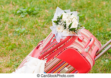 Packed suitcase for honeymoon - Packed suitcase with bridal...