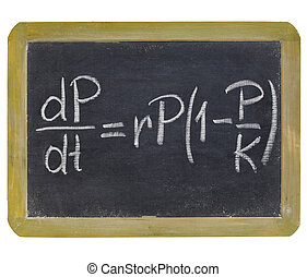 population growth equation - white chalk writing on a small...