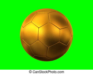rotating golden soccer ball on green background, seamless...