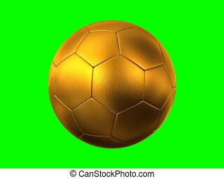 rotating golden soccer ball