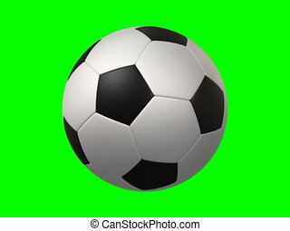rotating soccer ball on green background, seamless loop