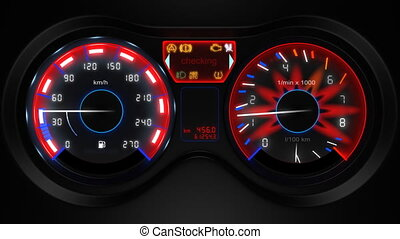 car dashboard 3d animation with sound