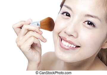 close up of Beautiful Woman Face and Make-up concept