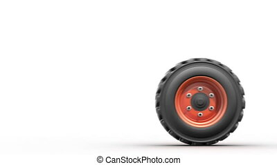 rolling truck wheel, 3d animation
