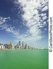 Doha city skyline vertical - A view of the skyline of the...