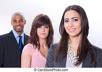 Multicultural business team, three smiling young people