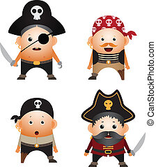 Pirates - Set of cartoon pirates