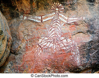 Aboriginal rock art at Nourlangie, Kakadu National Park,...