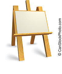 wooden easel - Vector wooden easel with blank canvas