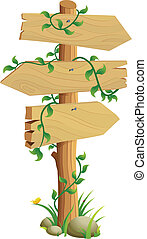 Wooden Direction Sign Vector Illustration