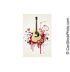 Floral guitar vector