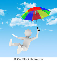 3d man flying with umbrella - 3d man flying in the sky with...
