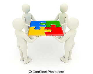 3d men holding assembled jigsaw puzzle pieces - Four 3d men...