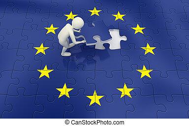 3d man finalizing European Union flag puzzle - 3d man...