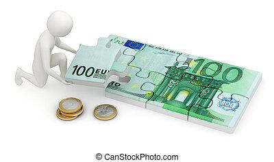 3d man assembling euro puzzle - 3d man assembling the final...
