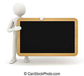 3d man showing blank black table - 3d man holding and...