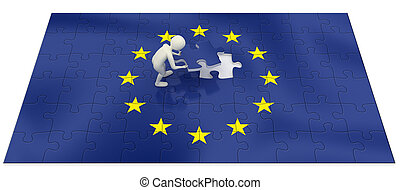 3d man finalizing European Union flag puzzle - 3d man...
