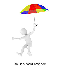 3d man flying with umbrella - 3d man flying with colorful...