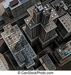 Urban Rooftops  - Aerial view of 3D City Render Illustration