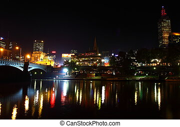 Melbourne City Lights over the Yarra River, Night, Australia...