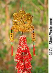 asian lucky symbol - Asian red decoration with gold fish