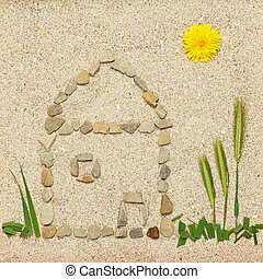 Stone house illustration in sand - House illustration in...