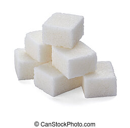 sugar cubes sweet food - close up of sugar cubes on white...
