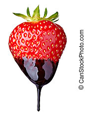 strawberry with chocolate candy dessert fruit - close up of...
