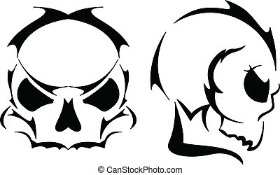 Two skull tattoos - Front and profile view of skull in...