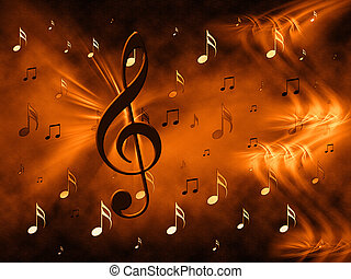 Golden treble clef and notes