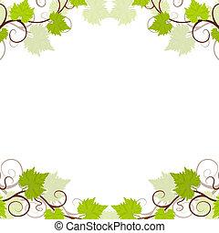jardín, uva, vides, marco